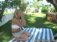 In this video, we have another hardcore BBW action with Sam. This time she joins Lee outside to show him what it's like to fuck a fat woman and she wastes no time getting started by spreading her fat thighs wide open for his cock.