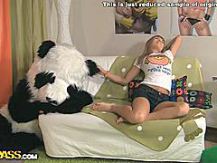 This pretty blonde teen sure knows how to have fun sex! She's home alone, so she takes her favorite sex toy ever - a big black dildo! It looks so arousing, the busty teenage babe just can't help licking and kissing it and shoving it in her wet pussy. The massive didlo fits perfectly to a huge panda bear, so the blondie decides to have fun sex with panda. Good idea, especially now that the panda is ready to fuck! First the sexy girl saddles the panda, but then he put her on all fours to drill her in doggy. Watch this unbelievable sex play!