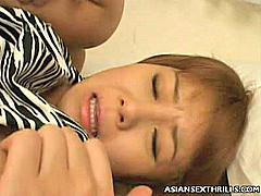 Sweet Asian teen Sayaka Sagano may look young and sweet, but look closer and you'll see this hot chick's definitely ripe for picking. Here we gave this sweet Asian porn star a treat and gave her pussy pleasuring by cramming her slit with a stiff cock.