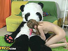 Oh, what a nice panda bear! He's got a present for this beautiful teenage girl - a brand new photo camera! Why not have a photo session? With every photo the girl gets hornier and hornier, and soon she poses naked shamelessly. But hey, panda wants some reward for his gift, something like kinky sex. And the panda's well equipped for that! An enormous dildo is always ready for some action! So the camera's forgotten, and the busty teenage happily rides the strapon cock of her lustful fluffy friend. ...