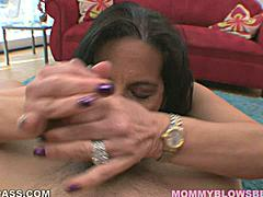 Melissa Monet uses a lot of tongue teasing in this POV blowjob scene.  She likes to caress the underside of the shaft to get it nice and hard before she goes all out sucking it with her mouth.  She's got the reverse hand twist going in this scene as she uses her mouth to suck on the balls like she's told.  Like a trooper she spends some time licking the sensitive spot between the balls and ass before finishing out the scene with a titty fuck job.  Her tits are real so the bend all the way around the shaft nicely.