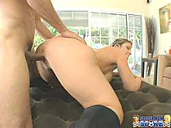 """Sara Jay doesn't usually have a problem """"getting the ball in the hole"""". Every time I've seen her she has a couple of balls in her mouth and a pair of balls slapping against her pussy. So I can why she would get upset when she can't get a pair of young balls to penetrate her twat. But this MILF doesn't give up so easily. Sara Jay knows how to work a cock -- sucking and tit-fucking until she has a stiff boner to ride. She slams her twat on this young soccer player's prick like she's trying to devour it with her cunt. She lets him work her deep until she can drink his cum and lick it off her lips.Sara Jay juggles balls like a pro!*Monique*"""