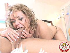 Kelly Leigh is a filthy cock sucker who gets in a hell of a mess when she sucks cock.  I hope she doesn't eat like this the filthy whore.  But i tell you what these mommys really do blow best don't they just loo at this whore sucking down that pecker like she can't get enough of it in man!  I would love to be on the receiving end of that blow job dude especially when i see the way she jerks it really fast between the sucking and licking.  She deep throats like a pro too!