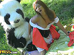 This is a story of a red riding hood, but it differs from the one you were told as a child :) The sexy teenage red riding hood was walking alone in the forest, and guess whom she met! No, it wasn't a wolf, it was a huge and horny panda bear! He wasn't gonna eat her, all he wanted was a fun fuck. And as soon as the girl saw panda's strapon dildo, she decided to go for an xxx sex play with this handsome bear. After all, she loved kinky sex toys so much! This fairy tale has a happy ending as panda ...