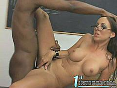 Gorgeous busty teacher babe gives up her pussy and ass for her horny black meat student! Fucking off at her table inside the classroom after her freaking class! And gives a sloopy blowjob for the black huge meat!