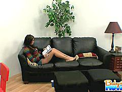 Adorable innocent babysitter Whitney Stevens gives a deep blowjob