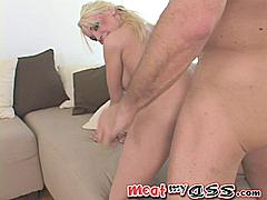 Blonde cockstar Deborah Prat doesn't speak English perfectly but in many ways that's even more sexy! Her man tells her to bend over on the couch a few times before she understands so after that he resorts to pointing at where she should go and SMACKING HER ASS when she is slow to react! As he fucks her from behind and slaps her tits it's hard to tell if she is really deeply submissive or just doing what he wants because she isn't sure how to complain!! She never seems to know what's about to happen next and like a gal on a runaway roller-coaster she FREAKS every time the ride takes an unexpected turn! Before long her man is balls deep in her dumper and fucking her ass so well that when he pulls out it makes a sucking sound like he's pulling a workboot out of a mud puddle! Then he stands her up so the camera can get a closeup of her face while he buggers her bunghole from behind! A quick yank out of her well-boned ass and he splatters her from her tits to her teeth with man sauce!Deborah Prat Speaks The Language Of Love!-RelentlessWhat language will the next meaty ass speak?