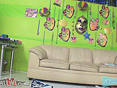 The scene is set.  The leather (hose me down) couch waits poised with a vibrator on the left side for the next victim to fall in the Squirt Mania Challenge.  Its a sad and lonely couch until Stevie Shae shows up.  With her sexy tattooed body and bleached blonde hair she immediately gets to sucking cock like she's asked to.