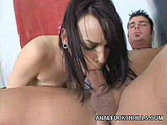 Dana De Armond is a hot pornstar with a perfect ass, perky and she likes to cram her hole with thick rodes. She gets a lucky in this scene and gets a chance to take a good one but first warms up her partner with an excellent blowjob.