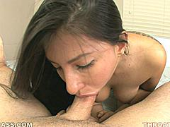 With a name like Esperanza Diaz you can probably guess that this girl is going to be a hot-blooded Latina who can work her mouth a mile a minute and needs a big piece of chorizo to satisfy her sexual urges. This is Esperanza's first throat-fuck but we promised to walk her through it and provide a big cock that is perfect for throat training. Esperanza primes her throat for a deep fuck and takes this long cock as far as she can...which is pretty far for a deepthroat newbie! The dedication Esperanza shows to getting this cock down her throat is something that should be taught to every girl.