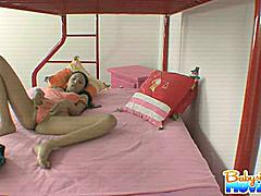 Amazing babysitter Alexis Love masturbating and fingering herself