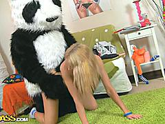This toys porn video starts in a very innocent way - a cute teen girl is reading a book, leaning on her big panda bear toy. What a nice girl! Don't know which book it was, but it made the chick extremely aroused. She started touching herself, and soon the book was replaced by an enomous dildo. Then the lustful babe decided to go for fun sex with her panda bear, who was equipped with a strapon cock just in case. They did it on the floor and on the bed, in so many positions and with such drive! You have to see it!