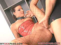 Nella Wan Hells is a European bondage model who became famous first for latex and fetish clothing fans but now she moves up to the big time by telling the whole world to Meat My Ass while you watch! Her tight leather color and eye jewelry add to her elegant euro facial features but it's her long legs that really add to the excitement of this anal sex video! Her legs dangle perfectly framing the target hole as her muscular costar crams his cock balls-deep inside her dumper. This one is destined to become an MMA classic!Nella Wan Hells Loves Anal- Relentless