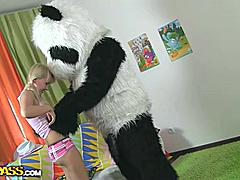 What would you do if your favorite panda teddy bear turned out to be alive and damn horny? Probably you'd be scared at first, like this pretty blonde teenager. But then she realized that it offered so many thrilling possibilities... In fact, she's always wanted to have sex with big toys. And there's nothing bigger than panda's shiny black strapon cock! Besides, the combination of fun and sex is truly irresistible. Watch an exciting sex play that ended up as real dirty sex. Oh, and there's a cool cumshot in the end!