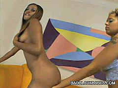 Nothing gets me more than having two gorgeous black hotties engage in a hot lesbian scene. Alana and Divine are smoking hot black lesbos and they're here to sizzle up your scenes with a wild lesbian encounter and help each other get off using a dildo.