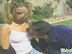 Beautiful blonde babysitter Jeanie Rivers sucking boss big shlong