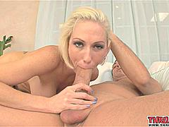 You guys begged to see this blonde MILF get Throated and we came through! Kasey Grant is a total Amazon with big boobs sexy curves and long legs that go on forever. There's only one way to conquer a woman like this -- with your cock. Kasey starts by giving the cock a long slow lick so that you can see her pink tongue and deep throat. She has a mouth just like a pussy -- pink wet and very fuckable. Her mouth is made for sucking and face-fucking and Kasey gets right down to making that cock grow in her mouth. He shoves her lips all the way down his shaft and has no mercy on her mouth as he fucks her face in 69 position and rewards her with a messy blowjob in POV. Bringing this hot mom over from Mommy Blowjobs was well worth the wait!Kasey loves cock and we love her!*Monique*