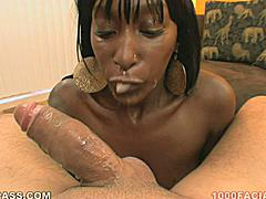 Chanel Bryant is a very dark skinned ebony diva with big earrings that look like gongs swinging back and forth when her throat gets up some speed as she sucks your dick toward her eventual cum facial. This chocolate honey has some excellent mouth skills!