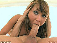 Look how easy it is for Jesse Jorden to suck those two balls into her mouth in this scene.  It's a prelude to the insane number of inches she manages to shove down her throat AS she sucks!  This isn't your typical porn blowjob.  This is an extreme example of a cock whore taking it down far then having it rammed down even further!  She gags she chokes she coughs up spit and she looks pretty the entire time she's being face fucked.