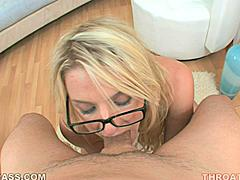 Kat Stevens giggles as her man holds her head while he fucks it. The deeper she throats his dick the more her eyes bulge. Then she puts on her glasses as cum goggles and keeps working his rod hoping earn billions of new sticky genetic facial fans all over her pretty face!