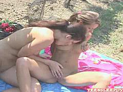 Lovely lesbian Lena and Melisa sucking and playing with vibrators