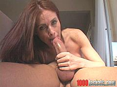Busty slut babe Ginger Lea on the position of 69 to suck your cock off she works hard to satisfy this horny cock! She suck and stroke hard very fast with love and care and after that she takes all the messy cum blaster!