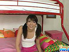 Lovely babysitter Adriana Nevaeh getting naked in front of camera