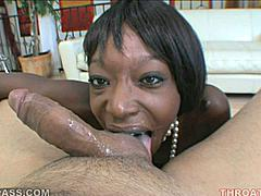 Taylor Starr proves that black girls know how to suck cock and aren't afraid to get messy when they go down and dirty! Here she is in nothing but a pearl necklace crawled up between her man's legs as she lathers his rod with her tongue and throat. This chocolate honey spits and sucks supremely well!
