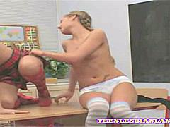 Playful lesbian schoolgirls licking and eating each others juices