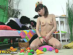 A creative girl can use almost anything as a sex toy. This filthy teen hottie saw a bowl of fruits, and suddenly her mind was full of dirty sex ideas. Bananas, apples, pears... So many shapes and textures, and each of them is just perfect for a sex play! That's when panda bear woke up and offered the best sex toy ever - his huge strapon dildo! When it comes to fun fucking, nothing can get a girl to cloud nine faster than a massive dildo. Besides, wild sex with big toys is something every girl dreams ...