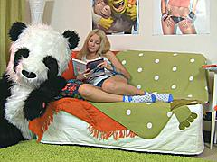 This toys porn video starts in a very innocent way - a cute teen girl is reading a book, leaning on her big panda bear toy. What a nice girl! Don't know which book it was, but it made the chick extremely aroused. She started touching herself, and soon the book was replaced by an enomous dildo. Then the lustful babe decided to go for fun sex with her panda bear, who was equipped with a strapon cock just in case. They did it on the floor and on the bed, in so many positions and with such drive! You hav...
