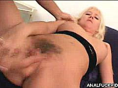 Mandy is a horny blonde who loves nothing more than a huge cock. It seems like this hot chick is addicted to sex and as long as either of her holes is filled, she's happy. Watch as this blonde hottie bends over and shows off her tight ass before finally spreading wide to have her hairy hole fucked hard and raw.