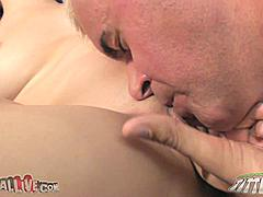 """Victoria Rae was so hot she wanted to strip off all her clothes right away. Her pink little pussy tasted so good that Dan couldn't stop eating it. She was getting fucked hard in her tight vagina with a magic wand on her clit. Victoria was pinching her small nipples while taking it from behind and she started repeating over and over """"IT FEELS SO GOOD!"""" She was soaking wet while he was taking his dick in and out of her pussy….until he came allover her pretty little face."""