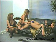 There's really nothing quite like a hot FFM  threesome that involves two smoking hot scantily clad ladies double teaming a lucky stallion. These sexy blonde ladies are all about sharing and they didn't mind taking turns in sucking and fucking our stud's cock.