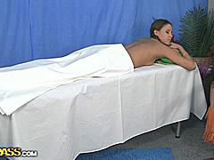 Sweet teen girl experiences her first erotic massage session in this video! She gets naked and lies down, waiting for the doctor who happens to be a hot young guy, dream come true for most chicks! Soon he comes in, covers his hands with body oil and begins rubbing. He starts with the back, but moves lower and continues with hot ass massage, making the girl close her eyes and moan in sweet pleasure. Few minutes later he tells his patient to lie on her back and goes for tits massage... You…