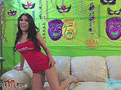 Aleska Nicole joined SquirtaMania to show off her sexy talents. This dark haired exotic beauty spread her legs to show how far she can squirt. She proved she could multitask when she put a toy on her clit and took a cock deep in her mouth. She used her favorite toy to fuck herself until her pussy was dripping wet. Aleska used her big breasts to slide a dick in between them for titty fucking.