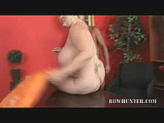 Bunny's back and she's looking as hot as ever in this movie, where she joins a guy in the living room for another round of hardcore BBW action. She gives us an excellent view of her huge tits while she straddles on top of a raging meat shaft.