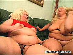 BBW Melinda Shy and Faye get down and dirty as they go for a session of sexy girl to girl action. See them play with their humongous titties and fat pussies in this sexy scene. Watch this fat blondie and brunette as play with a dildo in this porn video!
