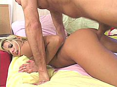 Another hot blonde getting fucked hard from behind on 1000 facials.  We can never get tired of seeing these little blonde bitches fucked like this it makes us feel good to provide such quality adult entertainment! This particular blonde can't seem to get enough of this cock and she wants it all ways possible. It appears that getting fucked from behind might be her favorite though from what i see in this movie.  She opens her mouth and throws her head back willingly when it comes to the facial cumshot although i do get the impression that she was a little worried about it as it approached.