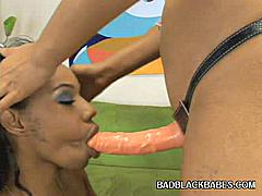 Next scene features two hot ebonies Ms. Goddess and Pleasure Bunny in a sizzling girl on girl strap on fuck. Check them out, these ladies are hot and eager for pussy pleasuring. Watch these ladies take turns in having their slits crammed with a huge dildo.