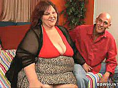 BBW Sweet Cheeks wowed us all with her cute chunks of fat and massive butt. She starts with a little striptease and attracts this horny chubby lover with her pretty face and massive folds of fat. The guy took off his clothes and whipped out his boner and made Sweet Cheeks slurp it well before she spread her fat thighs wide and took it deep into her fat covered muff.