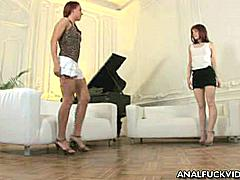 Belle and Sarah are foxy redheads who both share a craving for total anal pleasure. They're both very horny they need a real man that could satisfy their hunger for hard and nasty fucking. Watch these lusty young ladies flaunt their natural sexy bodies to tease two well hung studs into giving them hardcore pussy fucking and nasty tight asshole nailing.