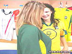 Sporty 19 year old lesbian beauties undressing in the locker room