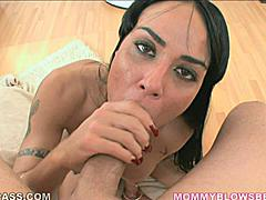Mahina Zaltana has you right where she wants you balls in her left hand cock in her right hand and the head slamming in and out of her sweet soft lips.  She looks up into the camera through the whole scene urging you to cum in her mouth.  And this chick knows how to use her tongue piercing to work that jizz out of you.  Her red fingernails caress your thigh as she slams your cock against the back of her throat causing her to hold her breath for a few seconds.
