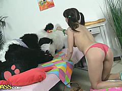 A creative girl can use almost anything as a sex toy. This filthy teen hottie saw a bowl of fruits, and suddenly her mind was full of dirty sex ideas. Bananas, apples, pears... So many shapes and textures, and each of them is just perfect for a sex play! That's when panda bear woke up and offered the best sex toy ever - his huge strapon dildo! When it comes to fun fucking, nothing can get a girl to cloud nine faster than a massive dildo. Besides, wild sex with big toys is something every girl dreams of!