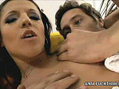 Ana Lya's a sweet looking Euro babe with a sexy petite body and a big craving for hardcore ass plugging. Watch her as she gets it from a horny stud and take his cock hard in her cunt and tight ass. Watch Ana Lya as she take a big cock in her wide gaped ass.