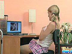 Playful babysitter Ellie caught in the hidden camera and punished