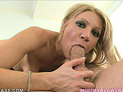 Skies the limit when you have Christina Sky sucking your cock.  In this scene you can see her throating a thick one as her tits hang low.  Shot from below you see all the XXX action as she works it in and out of her mouth while cupping the balls close.  Her cunt is getting vibed out at the same time and Christina can be heard starting to breathe heavy as the combo of a cock in her mouth and vibe on her clit get her off.
